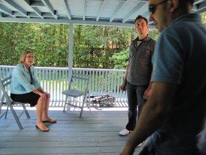 Gisèle Quenneville et l'équipe sur le patio