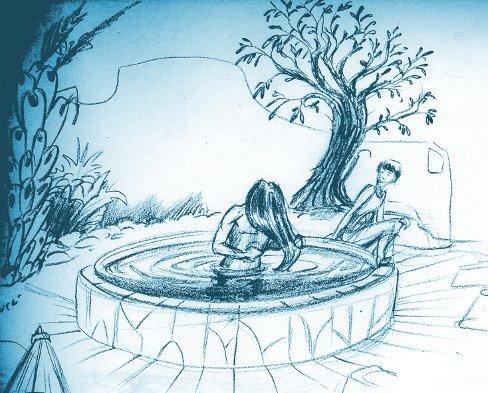 Le Bassin - croquis (et non, cette scène n'est pas décrite dans un de mes romans!)