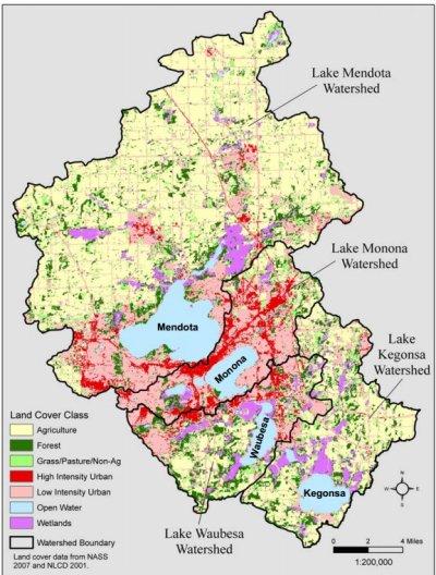 Madison - Usage du sol près des 4 lacs, carte réalisée par Tom Simmons, WDNR, tirée de la présentation de Lathrop (2009)