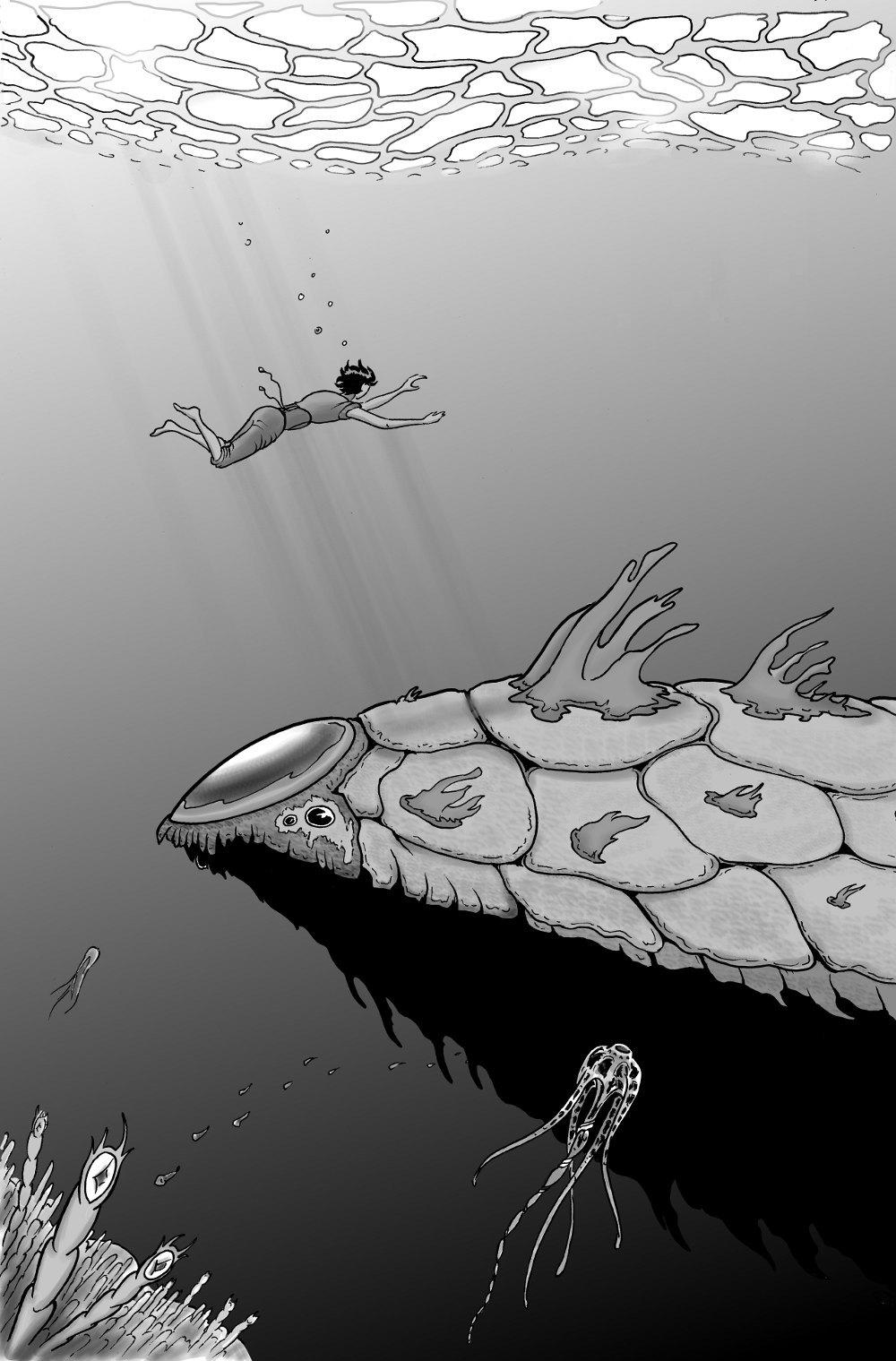 Rencontre aquatique, à paraître bientôt dans Nexuz3! Image en tons de gris