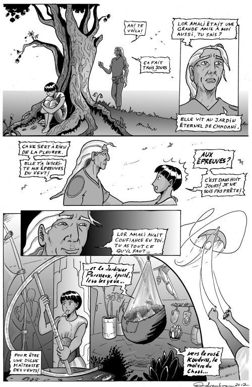 Maitresse des vents, page 32, en tons de gris