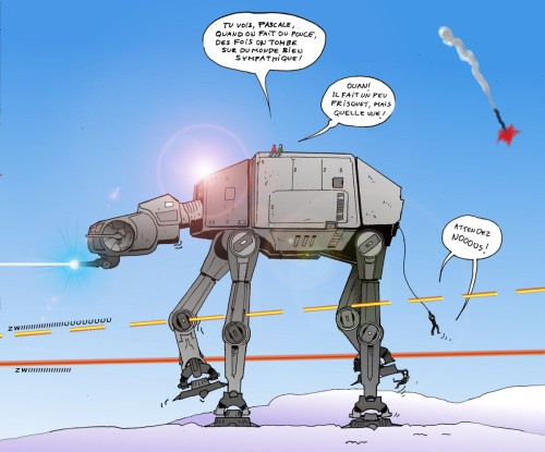 Faire du stop sur un AT-AT...