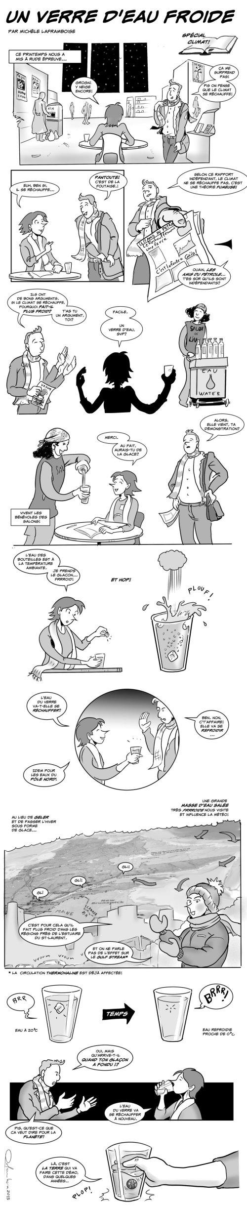 Les changements climatiques expliqués avec un verre d'eau!   Texte et dessins par Michèle Laframboise