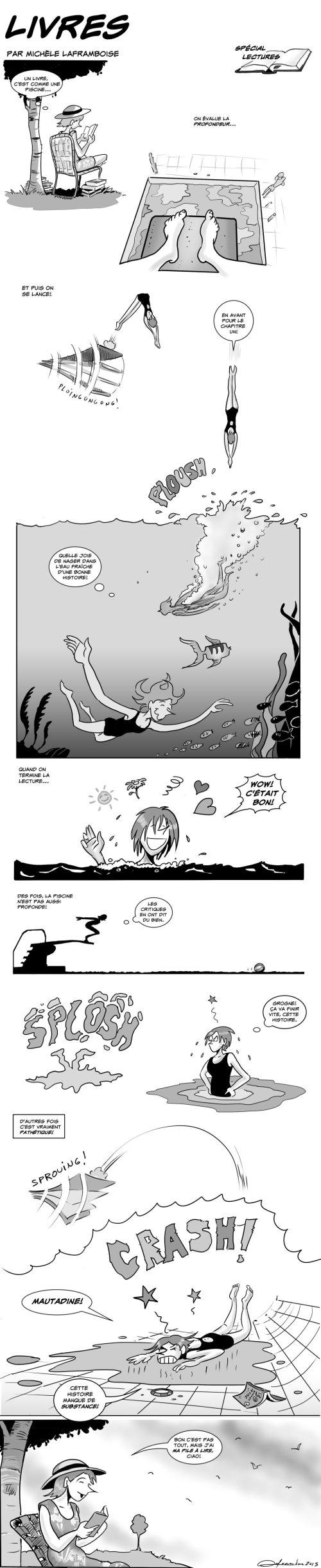 Le plaisir de se plonger dans nos lectures d'été! Texte et dessins par Michèle Laframboise
