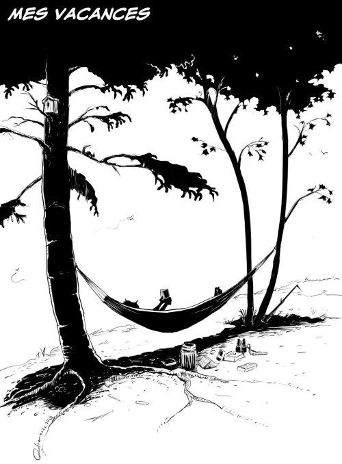 Lectures de vacances sur hamac. Technique en noir et blanc