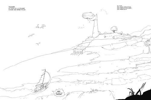 Crayonné de la Route des Honneurs, un voilier terrestre glisse vers une ville à l'horizon