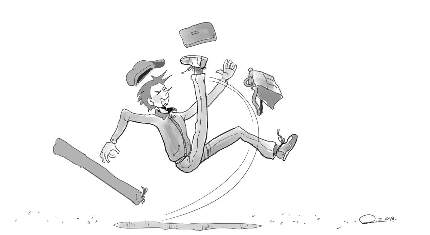 Les accidents arrivent toujours aux gens pressés! Michèle Laframboise glissant sur un trottoir mouillé