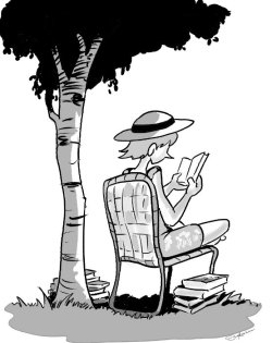 Michèle en train de lire à l'ombre d'u arbre