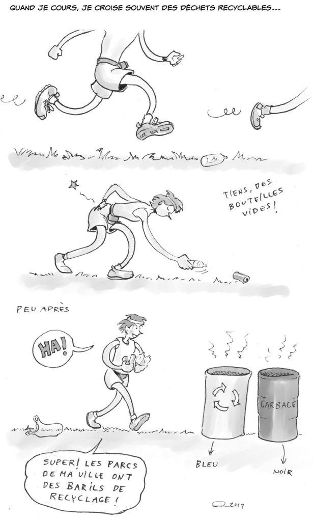 Michèle, l'écologiste consommée, ramasse tout en courant des cannettes et des bouteilles de plastique.