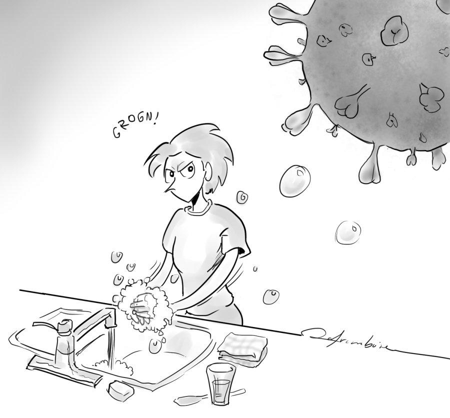 Michèle se lavant les mains en gardant un œil méfiant sur le microbe de la COVID-19