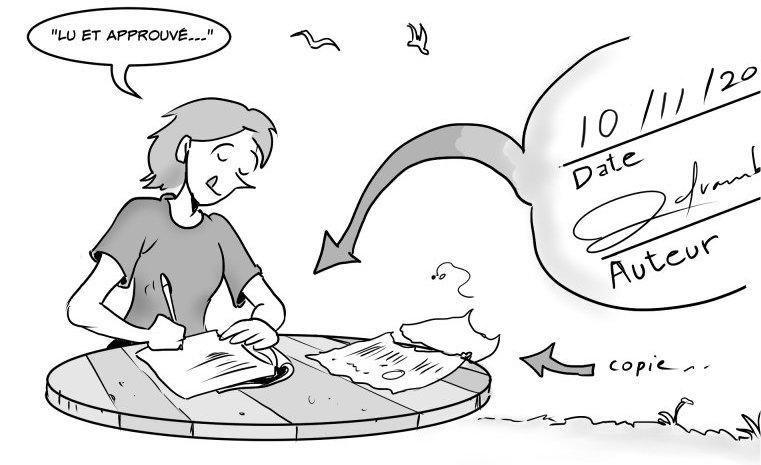Michèle signe une copie d'un contrat sur sa table de bois.
